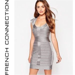 French Connection Silver Bodycon Bandage Dress 4